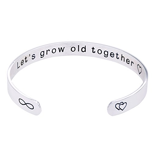 O.RIYA Jewelry Wife's Gift Let's Grow Old Together, Gift for Her, Valentine's Day Wedding Gift, Custom Cuff Bracelet