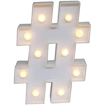 Amazon Com Cskb Hashtag Symbol Led Marquee Letter Lights For