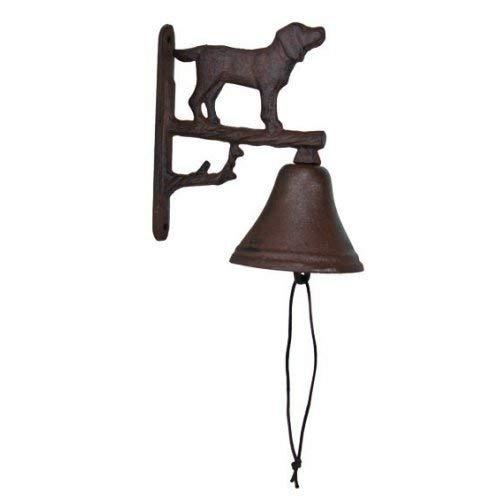 (HomeOffice Cast Iron Dog Dinner Bell Yard Art Wall Hanging Garden)