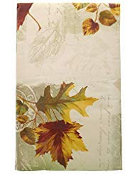 Bountiful Harvest Fall Leaves, Imprints and Delicate Script on Cream and Sage Green Background -Fall Vinyl Tablecloth with Flannel Backing (52