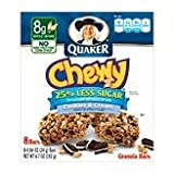 Quaker Cookies N Cream Chewy Granola Bars Reduced Sugar 8 Bars Per Pack 6.72 OZ (Pack of 24)