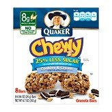 Quaker Cookies N Cream Chewy Granola Bars Reduced Sugar 8 Bars Per Pack 6.72 OZ (Pack of 24) by Quaker
