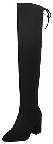 Easemax Women's Dressy Faux Suede Round Toe High Block Heel Zip Up Over Knee High Boots Black I0oWu1p