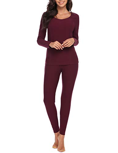 Anboer Lady Sleepwear Cotton Johns Sets with Fleece Lined Thermal Inner Wear (Wine Red, M)