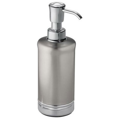 InterDesign York Metal Soap Dispenser & Lotion Pump, for Kitchen or Bathroom Countertops - Brushed/Chrome