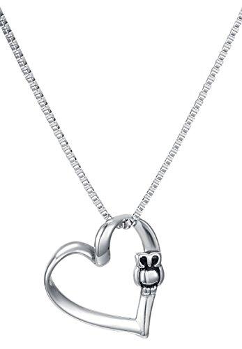 Owl Heart Pendant Necklace, 18