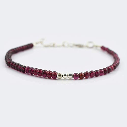 Pink Garnet Round Roundel Beads Bracelet with Sterling Silver Findings Stone Handmade Beaded Jewelry