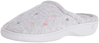 Isotoner Women's Classic Terry Clog Slippers Slip on, Heather Grey, X-Small / 5.5-6 Regular US