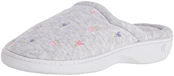 Isotoner Women's Classic Terry Clog Slip On Slipper, Heather Grey Flower, X-small5.5-6 M Us 0