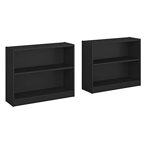 Bush Furniture Universal 2 Shelf Bookcase Set of 2 in Classic Black - Bush Contemporary Bookcase