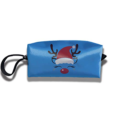 YyTiin Cute Reindeer Face Portable Travel Home Bra Lingerie Cosmetic Make-up Storage Bag Handbag]()