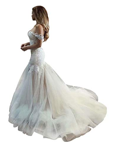 QueenBridal Cathedral Train Mermaid Wedding Dress Beaded Applique Off Shoulder Bride Dresses QU89 Ivory (Cathedral Train Sleeveless)