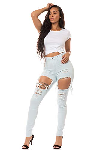 - Aphrodite High Waisted Jeans for Women - High Rise Skinny Womens Hand Sanding Distressed Ripped Thighs Cut Out Jeans 4303 (Made in USA) Light Blue 7