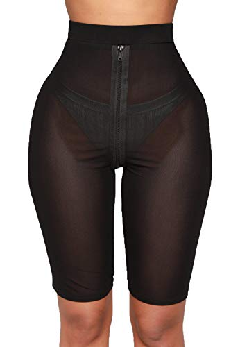 Nihsatin Women's Elastic Sheer Mesh High Waisted Booty Shorts See Through (Black-Zipper, Large)