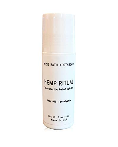 Muse Roller Ball - Muse Bath Apothecary Hemp Ritual - Natural Hemp Oil Roll-On, 3 oz, Therapeutic Relief and Post-Workout Recovery, Helps Relieving Pain, Inflammation, Tension, and Discomfort in Muscles and Joints
