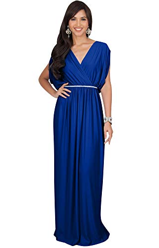 KOH KOH Plus Size Womens Long Cocktail Empire Waist Short Sleeve Formal V-Neck Bridesmaid Summer Flowy Bridesmaids Wedding Guest Grecian Gown Gowns Maxi Dress Dresses, Cobalt Royal Blue 2XL 18-20