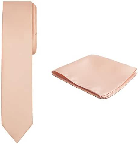 Jacob Alexander Solid Color Men's Skinny Tie and Hanky Set - Peach