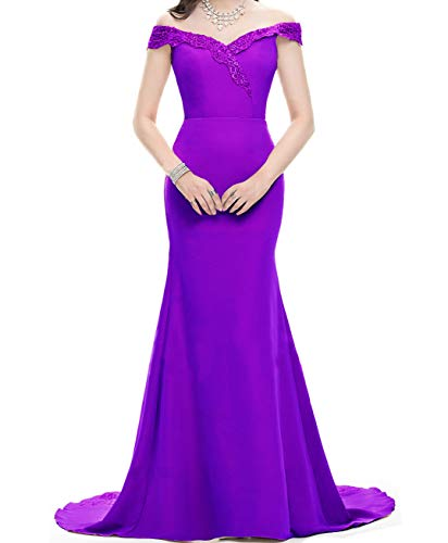 Asoiree Women's Lace Mermaid Evening Prom Gowns Off Shoulder Formal Dresses Sweetheart Sleeves
