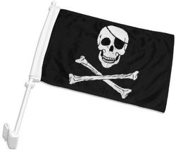Double-Sided Pirate Car Flag TallFlags