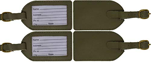 Genuine Cowhide Deep Olive Green Leather Luggage Suitcase Bag Tags (Pack of 4)