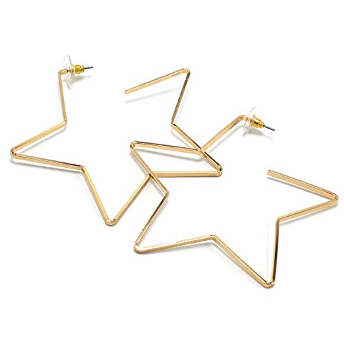 Miracle Collection Large Open Star Hoop Fashion Casual Lightweight Earrings for Girl and Women