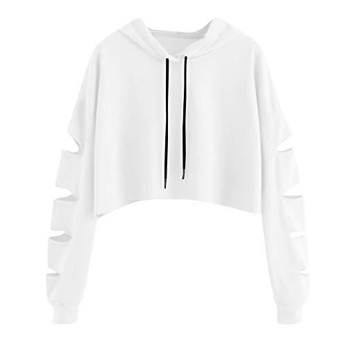 Elegante Maglietta Casual Maglia Casual Tops Donna Ragazza Elegante Camicia Moda Lungo Felpa Pullover Unita Manica Camicetta Tinta Pullover Felpe VICGREY Bianco Tumblr ZqHwHA4