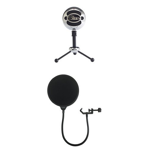 Blue Snowball USB Microphone (Brushed Aluminum) with Dragonpad Pop Filter