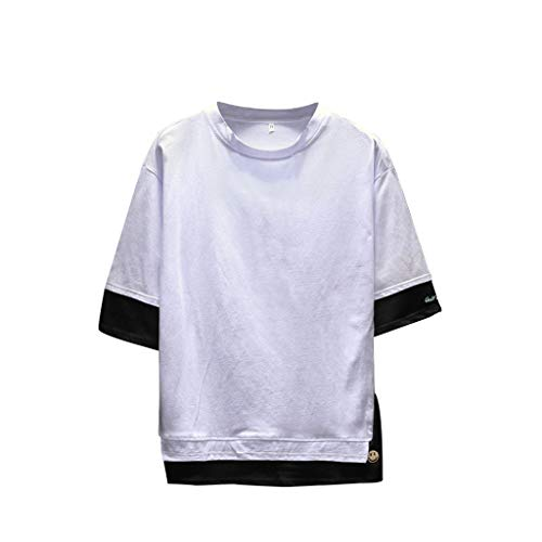 TOPUNDER Men's Summer Casual Fashion Patchwork O-Neck Half Sleeve T-Shirt Top Blouse White]()