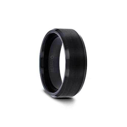 - Elise Black Tungsten Wedding Ring Band with Polished Beveled Edges and Brush Finished Center - 6mm - 10mm (Tungsten-8mm, 10.5)