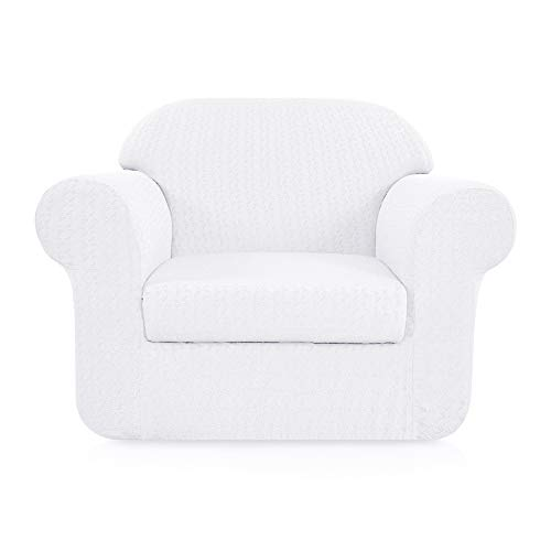 Subrtex 2-Piece High Stretch Sofa Slipcovers Durable Soft Jacquard Embossed Fabric, Machine Washable Sofa Covers, 1 Seater (Chair, White ()