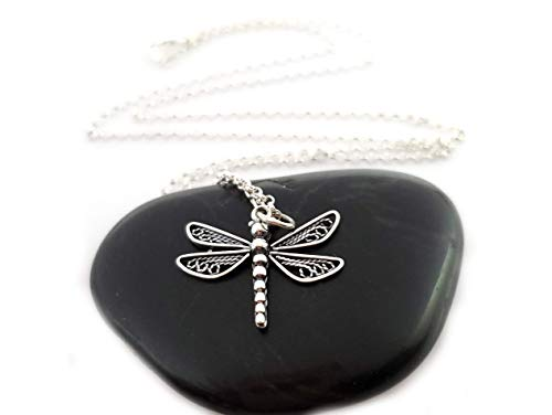 Dragonfly Charm Necklace - Large Dragonfly - Dainty Sterling Silver Jewelry (Dragonfly Sterling Silver Pendant)