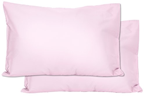 2 Pink Cotton Jersey Toddler Pillowcases – Envelope Style – for Pillows Sized 13×18 and 14×19 – Machine Washable – 2…