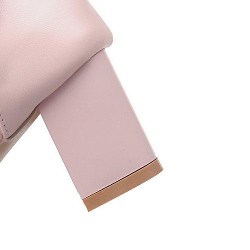 AalarDom Mujer Hebilla Puntera Abierta Tacón Medio Pu Sólido Sandalias de vestir Rosa