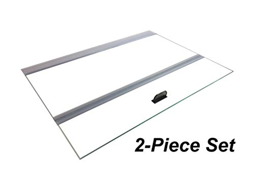 (H2Pro Glass Canopy 2Piece Set for Marineland Perfecto 70/75/90/110 Gallon 48x18 Aquarium Fish Tank (Eachpiece Measure 22.68 x 16.93 x 0.16in))