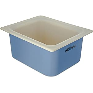 "Carlisle CM1101C1402 Coldmaster CoolCheck 6"" Deep Half-Size Insulated Cold Food Pan, 6 Quart, Color Changing, White/Blue"