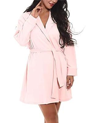 Seazoon Womens Pajamas Vintage V Neck Cardigan Nightgowns Long Sleeve Robe Plus Size Pajamas for Women Sexy