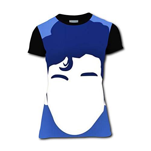 Head Portrait Cute Hair Fashion Adult Tees Shirts Short Sleeve T-Shirts for Women Black