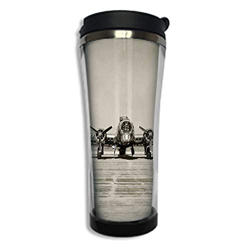 Customizable Travel Photo Mug with Lid - 8.45 OZ(250 ml) Stainless Steel Travel Tumbler, Makes a Great Gift by,Airplane Decor,World War II Era Heavy Bomber Front View Old Photo Flying history Takeoff