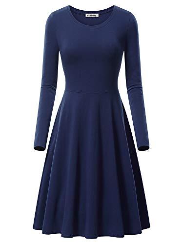 VETIOR Flared Dress, Women's Long Sleeve Simple Design Dress 17033-10 XX-Large Navy]()