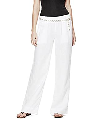 GUESS Women's Wide-Leg Linen Pants