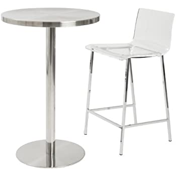 Euro Style Chloe Clear Acrylic Counter Height Stool With Chromed Base, ...
