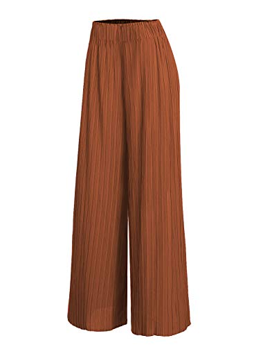Arolina Women's Elastic Waist Pleated Wide Leg Palazzo Pants (Medium, (Ladies Plus Pleated Dress Pants)