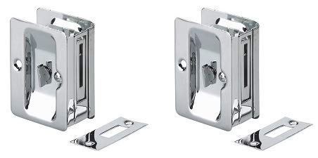 (Onward 1701CPSBC Pocket Door Pull with Privacy Lock - Rectangular, Chrome (2-(Pack)))
