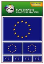 European Union EU Country Flag Set of 7 Different Size Collection Decal Stickers ... New in Package