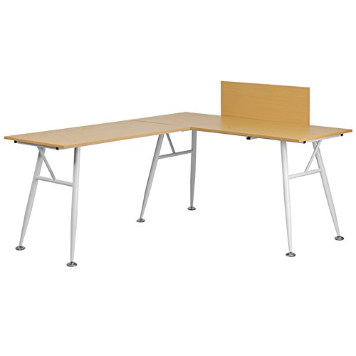 Beech Modern Desk - Beech Laminate L-Shape Computer Desk with White Frame Finish - Office Desk