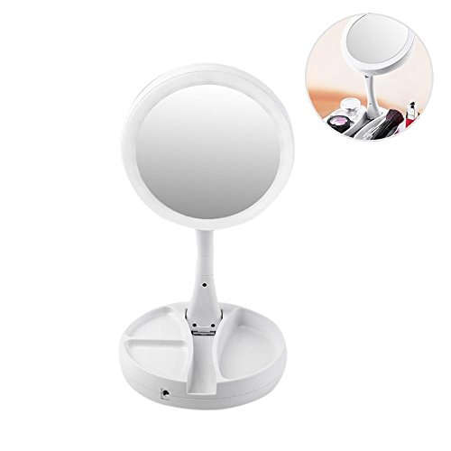 KOBWA My Fold Away Mirror, LED Adjustable Distortion-free Makeup Mirror with Lights and Magnification, Double-Sided Rotation Folding USB Illuminated Vanity Makeup Mirror As Seen On TV by KOBWA