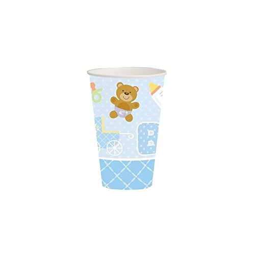 Creative Converting Baby Shower Teddy Baby Blue 8 Count Paper Cups, 12-Ounce