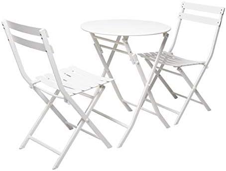 ZWJLIZI 3 Piezas/sillas, Mesa al Aire Libre/balcón/jardín/combinación de Silla de Mesa rebatible (Mesa Redonda uno + 2 sillas), Hierro Forjado, Estilo Simple Llano (Color : B): Amazon.es: Hogar