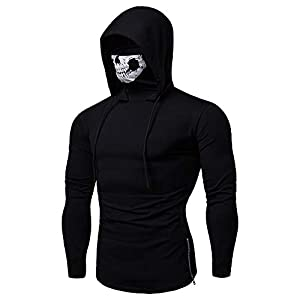 DIOMOR Mens Fashion Unique Skull Mask Hoodie Sweatshirt Ourdoor Sport Cycling Hooded Shirt Pullover Transitional Outwear