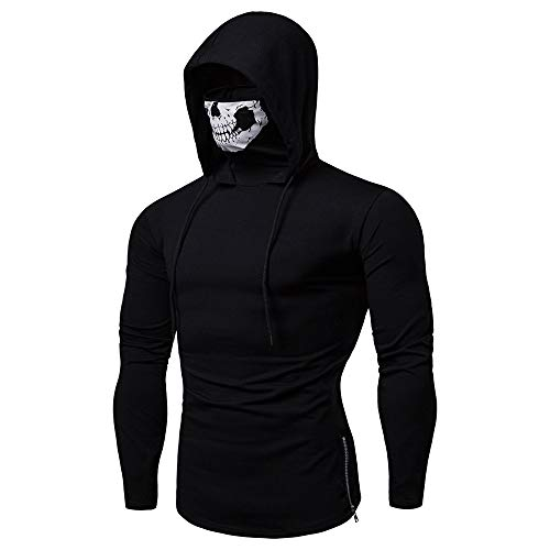Men Sport Glow in The Dark Skull Skeleton mask Hoodie, Full Zip up Night Club Fashion Sweater Costume Pure Color Pullover Long Sleeve Hooded Sweatshirt Tops Blouse Pullover Sweaters